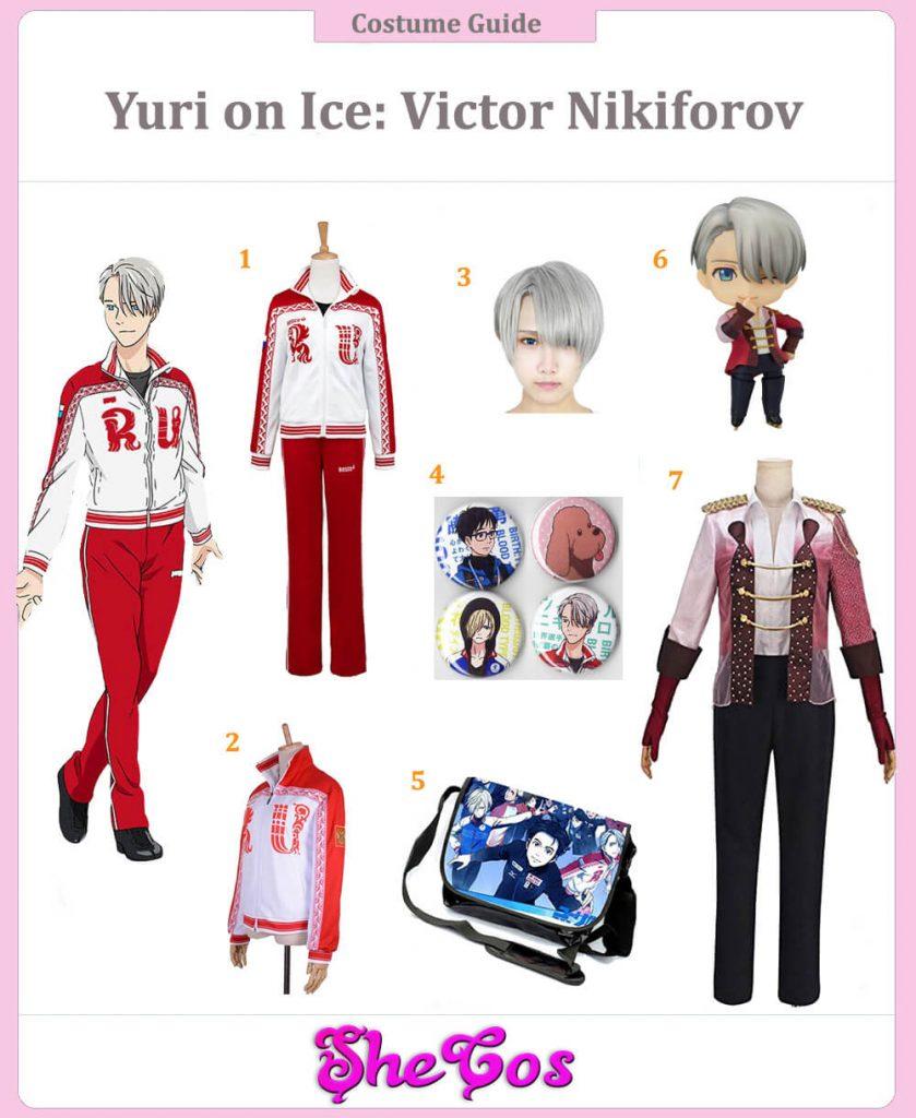 Yuri Yuuri on Ice Victor Viktor Nikiforov Cosplay Costume Outfit Skating Uniform