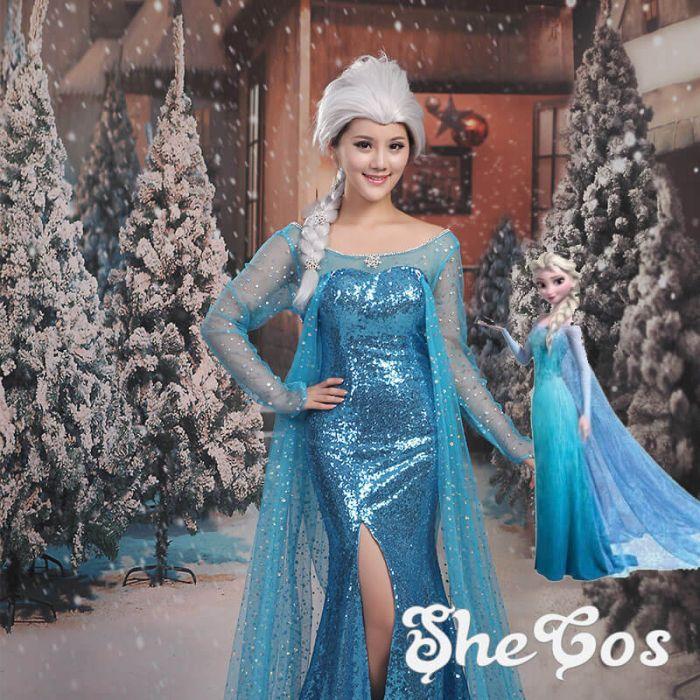 628a57760be Frozen Queen Elsa Dress Cosplay Costume