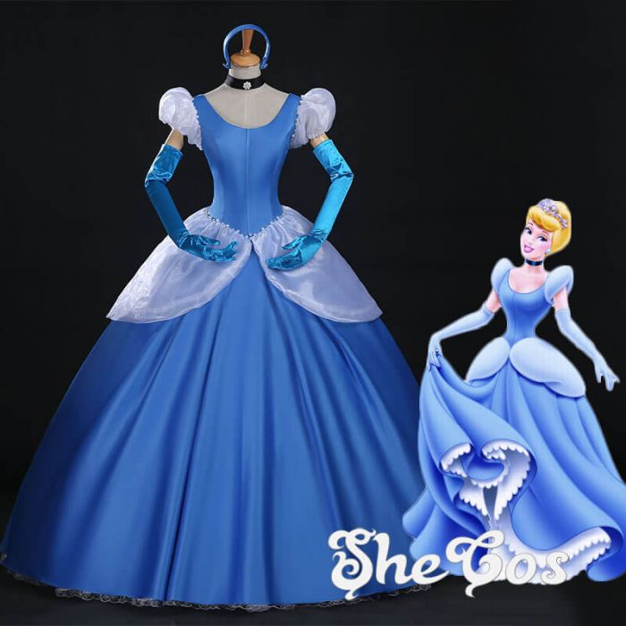Princess Cinderella dress. Princess Cinderella costume & Blue Cinderella Adult Dark Blue Dress Cosplay Costume