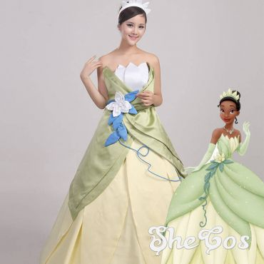 The Princess and the Frog Princess Tiana Cosplay Costume Green Dress