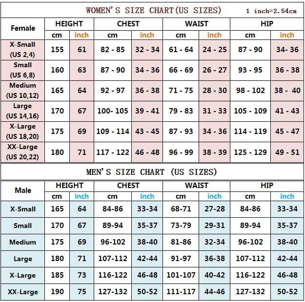 Costume size chart